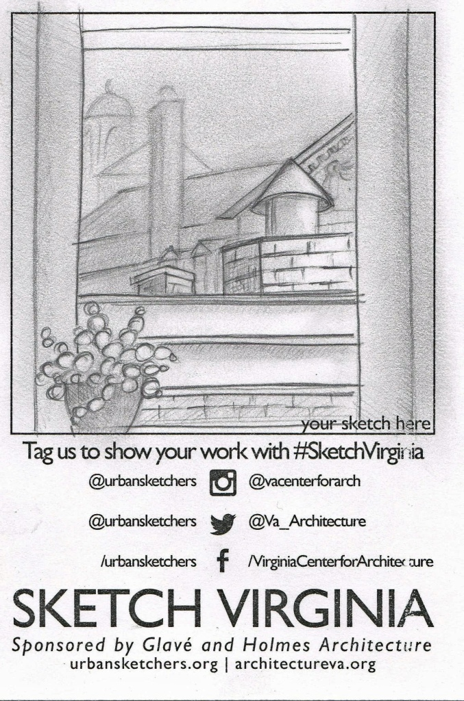 Quick sketch of view outside office window.